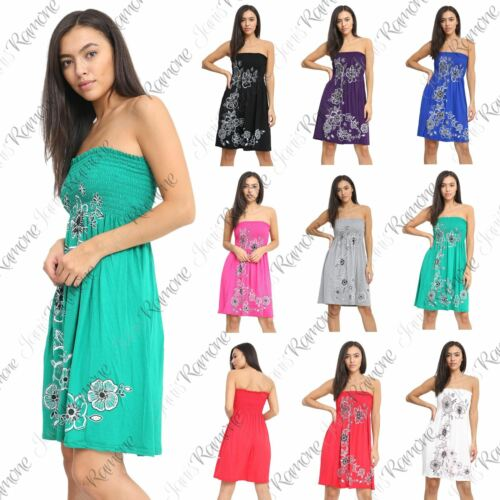 New Womens Floral Panel Print Bandeau Sheering Flared Strapless Mini Dress Top