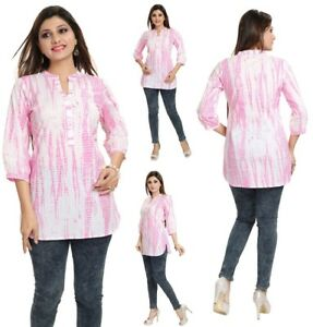 UK-STOCK-WOMEN-PINK-INDIAN-COTTON-KURTA-KURTI-DRESS-TUNIC-TOP-SHIRT-MM81