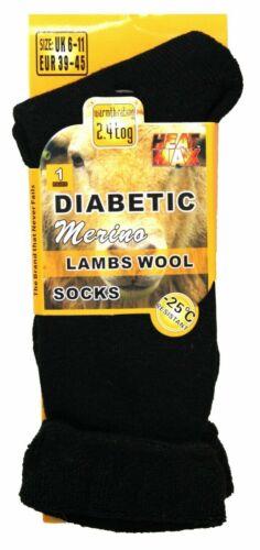 Unisexe Hommes Femmes Diabétiques Loose Top Laine Mérinos Chaussettes 2.4Tog Chaussure d/'hiver épais