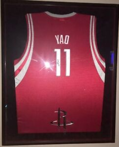 innovative design 2285b e280d Details about YAO MING Signed Game Worn Away Jersey Framed Emblemed. Hall  Of Fame