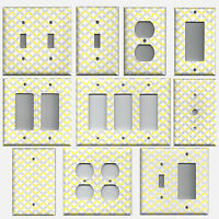 Light Yellow & Gray/grey Geometric Circles Light Switchplates & Outlet Covers
