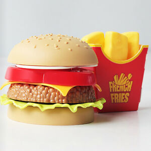 Child-Pretend-Play-Food-Toy-Wooden-Burger-Fries-Fast-Food-Deluxe-Dinner-Set