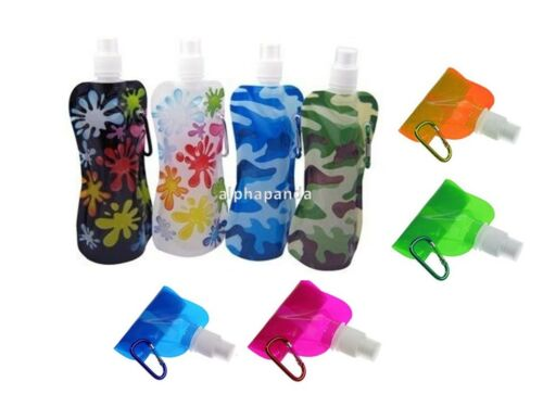10x Flexible Collapsible Foldable Reusable Water Bottles Ice Bag Pouch BPA Free