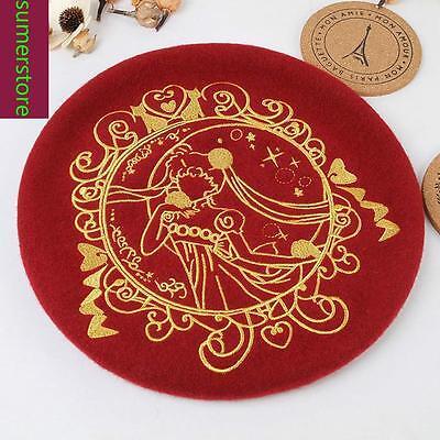 1pc Lolita Girls Sailor Moon Print  Beret Cap Painter Beanie Cute 5 Colors Wool