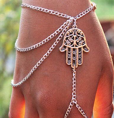 Hamsa's Hand Palm-shaped silver charm slave chain link Bracelet finger ring