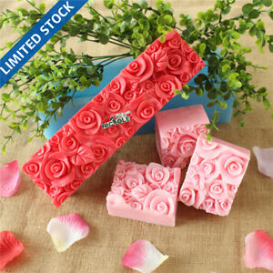 Bd0016 Nicole Rose Flower Custom Handmade Silicone Rubber Loaf Soap