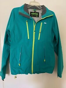 NWOT Women's KÖPPEN Turquoise/Lime Green, Zip Front, hooded Jacket, Size S