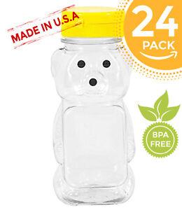 Lot-Of-24-8-oz-Honey-Bear-amp-Flip-Top-Lid-Plastic-Squeeze-Bottle-Party-Favor
