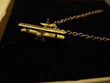 """Boeing-Stearman Model 75 c126 Pewter On A 24"""" Silver Plated Curb Chain Necklace"""