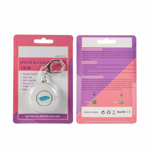Personal Alarm 130db Self Defense Keychain Security Siren LED Light by Safenet