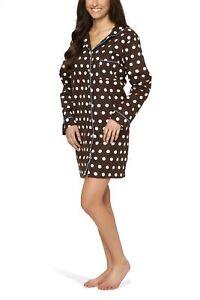 low priced 4f46f d8856 Details zu Flanell-Nachthemd für Damen mit Knopfleiste und Polka Dot-Design  - Moonline