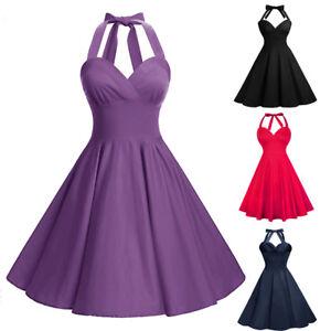 Women Vintage Party Dress Halter Rockabilly 50s Swing Dress Plus ...