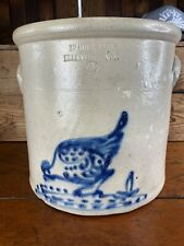 Ej64  Antique Chicken Pecking Corn Stoneware Crock NY Decorated  Ellenville NY B
