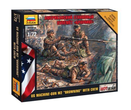 "3 U.S /""BROWNING/"" MACHINE GUN w// CREW  ZVEZDA 1//72 PLASTIC FIGURES"