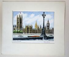 Signed Graham Clilverd London's The Houses of Parliament Etching