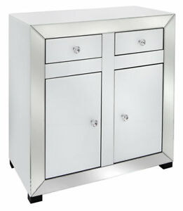 factory authentic 75d31 92cab Details about Venetian white mirrored 2 door small sideboard, white glass  modern side unit