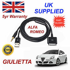 ALFA ROMEO GIULIETTA PER APPLE 3GS 4 4S iPhone iPod USB & 3,5 mm AUX Cavo Nero