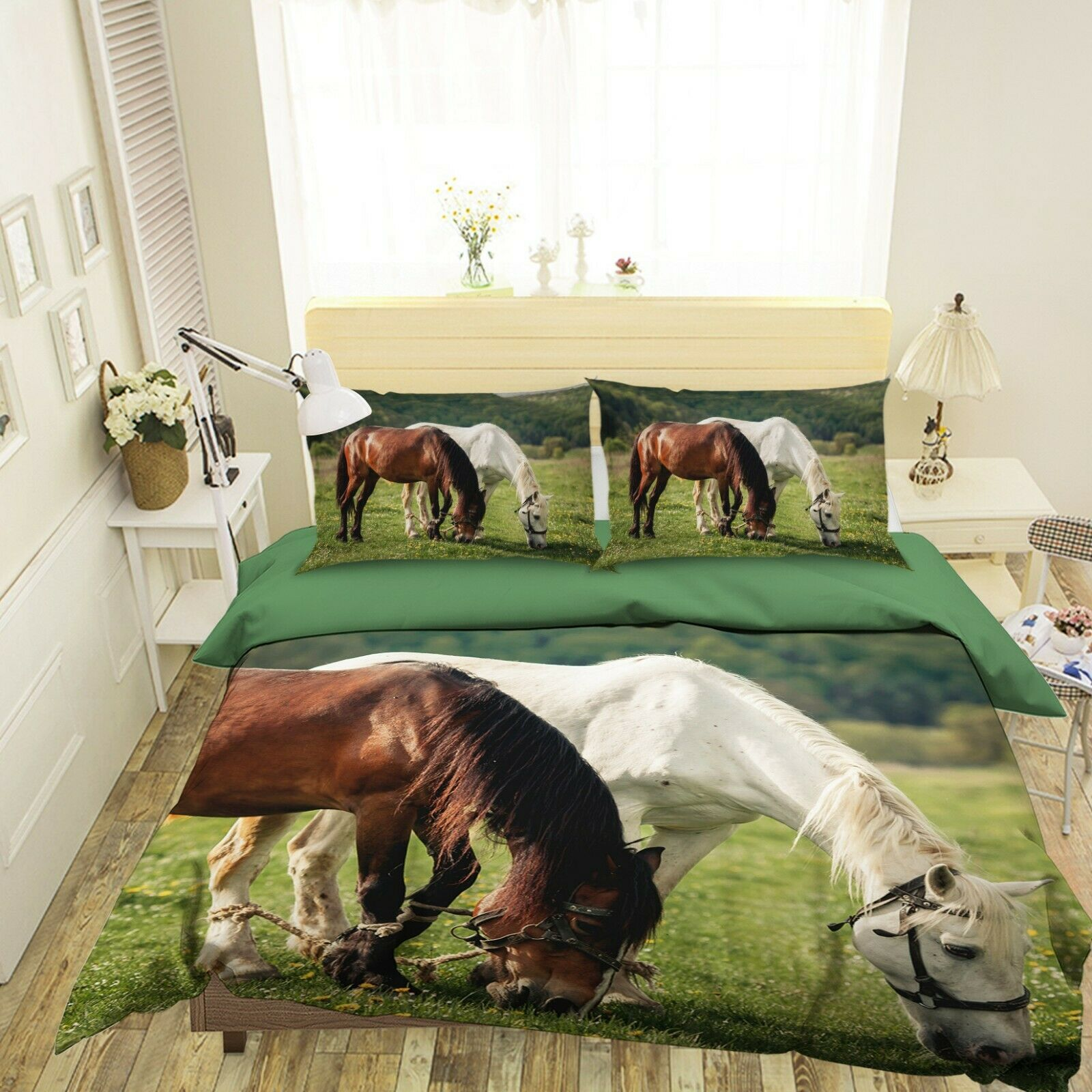 3D Two Horses O44 Animal Bed PilFaiblecases Quilt Duvet Cover Set Queen King Amy