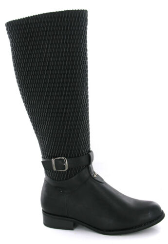 Womens Quilted Riding Boots Ella Fashion Quality Black Side Zip Flat Size UK 3-8