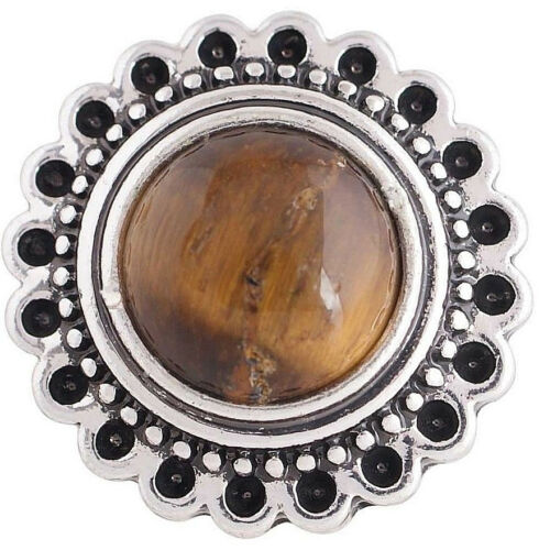 Silver Brown Tigers Eye Flower 20mm Snap Charm For Ginger Snaps Magnolia Vine