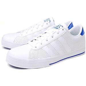 ADIDAS Chaussures de tennis à lacets sport cuir véritable Blanc Neuf 9790RpM