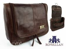 NEW Mens Vintage LEATHER Hanging Wash BAG by Rowallan Travel Toiletries Cognac