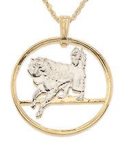 """Eskimo Dog Pendant ,Handcut Canadian Coin 14K& Rhodium 1"""" diameter ) # 616 )"""