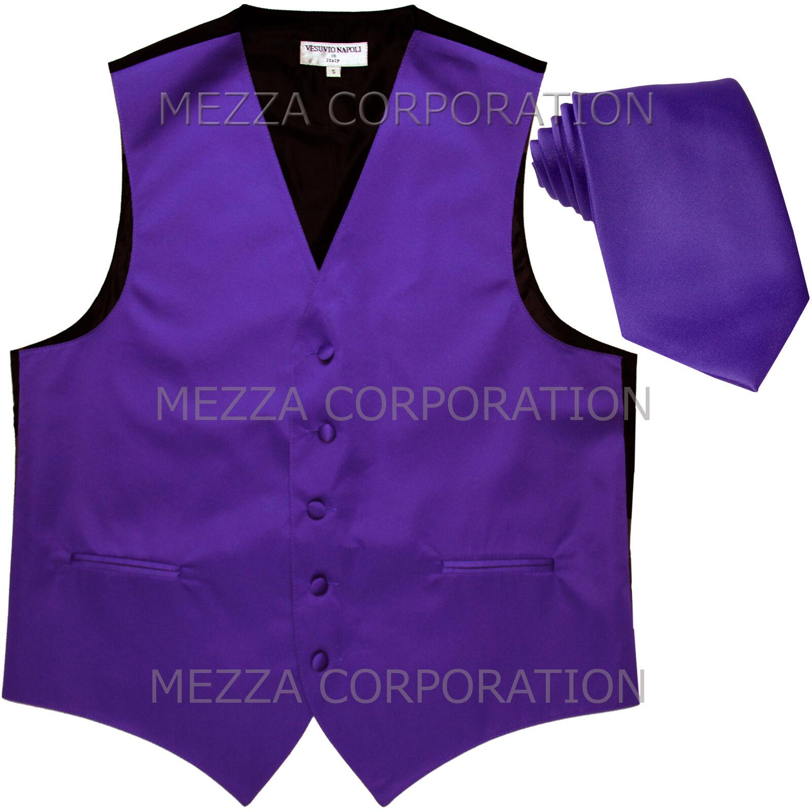 New Men's Vesuvio Napoli Tuxedo Vest Waistcoat Necktie prom wedding party Purple