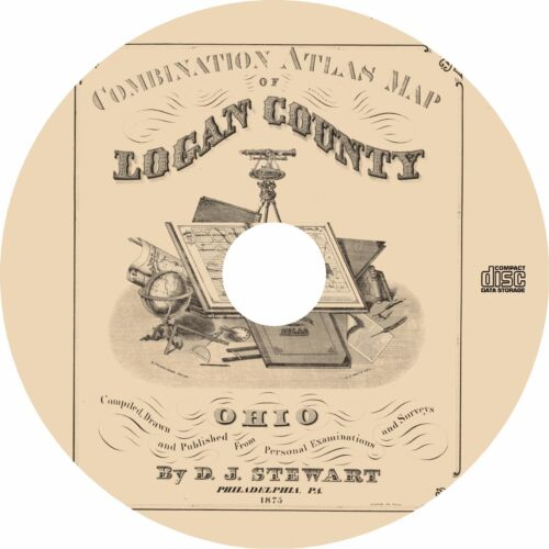 Combination Atlas Map of Logan County, Ohio {1875} Plat Maps ~ OH History on CD