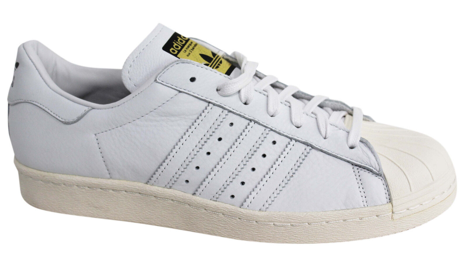 Adidas Originals Superstar 80s Deluxe Lace Up White Leather Trainers S75016 M9