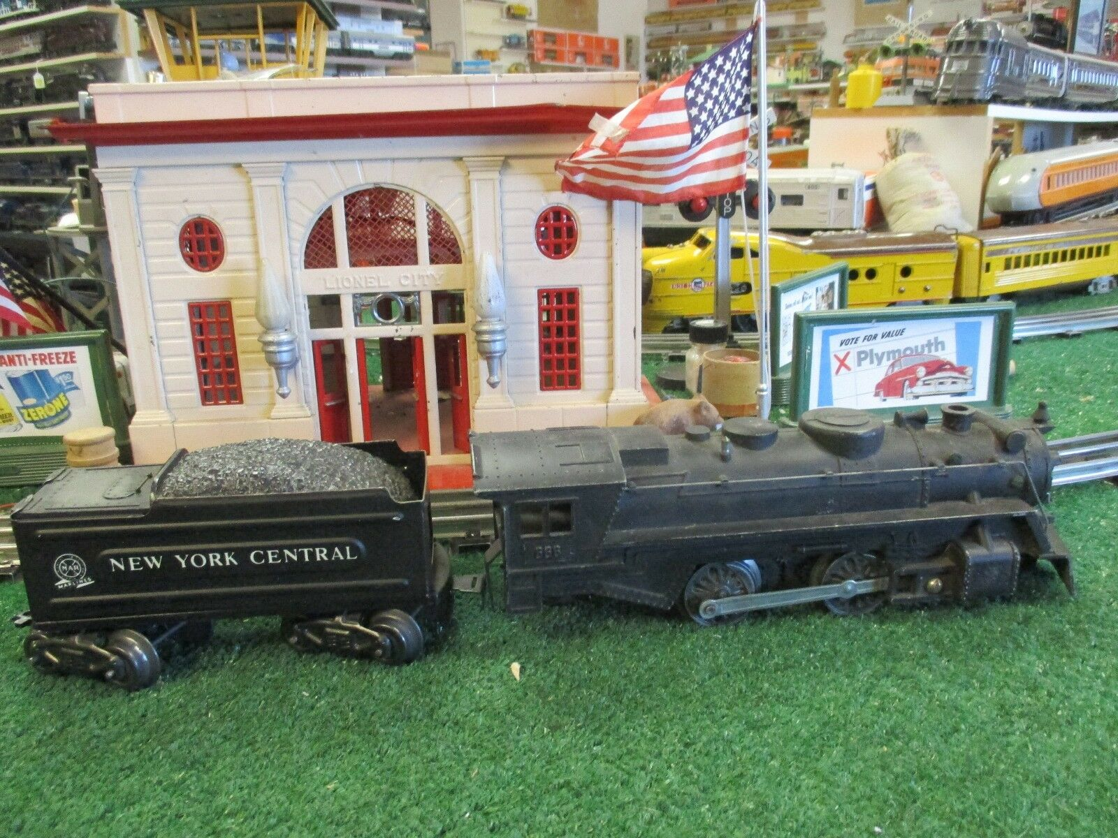 MARX  666 DIE CAST 2-4-2  STEAMER W TIN TYPE NYC TENDER  SMOKE VG PLUS COND 1955