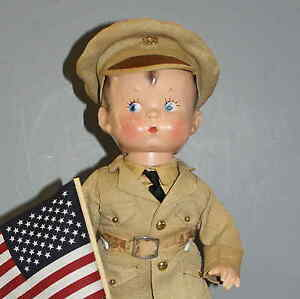 VINTAGE-COMPOSITION-034-SKIPPY-034-DOLL-in-MILITARY-OUTFIT-circa-1929