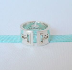 01223257b Tiffany & Co Size 5 Silver Cut Out Open T Wide Ring Band $550 ...