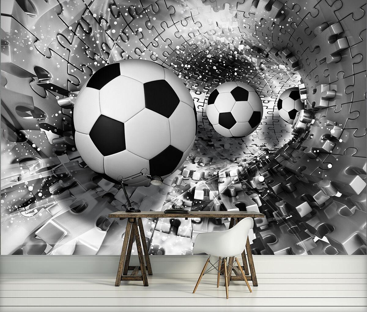 VLIES Fototapete Bild Poster Foto Tapeten SCHWARZ SPORT BALL 3D PUZZLE 3FX3382VE