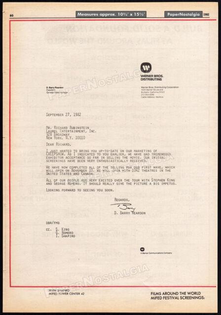 CREEPSHOW__Original 1982 Trade AD promo / Warner Bros. Open Letter__ROMERO__KING
