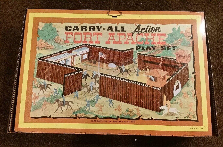 1968 llevar-todo Fuerte Apache Marx Tee-Mee Indios Vaqueros Pueblo Viejo Oeste Lote enorme