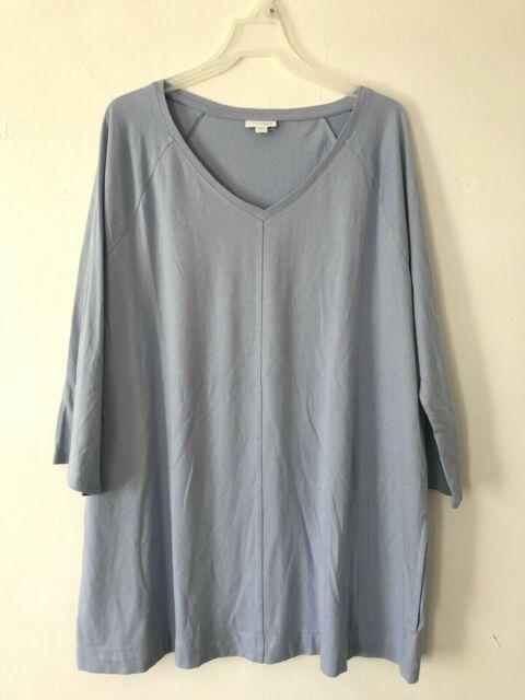 NEW PURE J. JILL M L V-neck Tunic Pockets 3/4 Slv Pima Cotton/Modal Light Blue