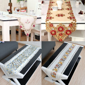 Vintage Embroidered Flower Table Runner Mats Lace Doily  Wedding Party Decor