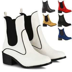 Womens-Ankle-Boots-Block-Low-Mid-Heel-Ladies-Western-Pull-On-Gusset-Chelsea-Shoe