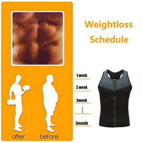 Men/'s Gym Neoprene Sauna Vest Sauna  Sweat Shirt Body Shaper Slimming Tank Size