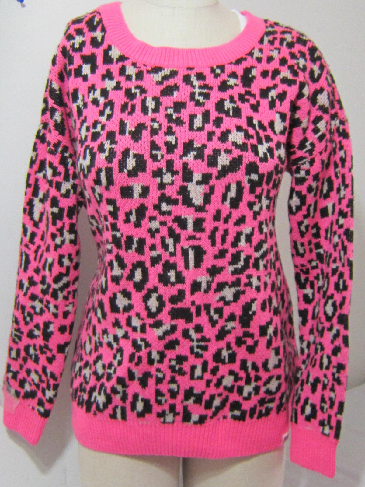 @ Victoria Secret Pink LEOPARD BOYFRIEND SWEATSHIRT CREW SWEATER XS Tunic Length