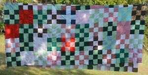 """Unfinished Modern Quilt top Machine stitched cotton squares 92x102"""""""