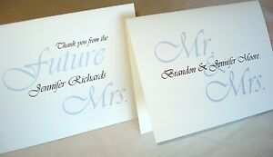 50 Personalized Note Cards Wedding Bridal Shower Thank You Stationery Blank Insi
