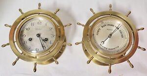 Antique-Waterbury-U-S-A-Heavy-Brass-Ships-Wheel-Clock-amp-Barometer-Set
