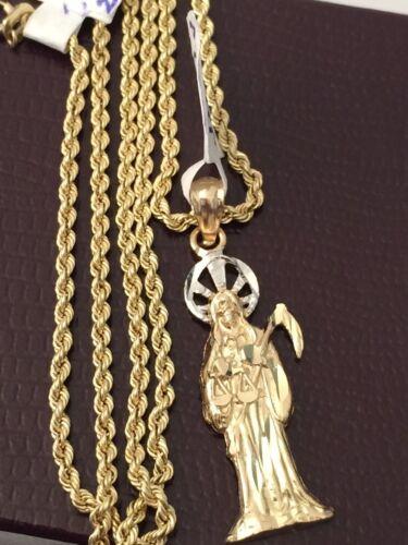 """Religious 14K Real Yellow Gold Grim Reaper Santa Muerte Pendant Rope Chain 18/"""""""