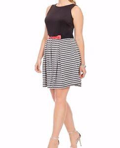 Gabby-Skye-Scuba-Knit-Fit-And-Flare-Chevron-Dress-Size-20W-No-BELT
