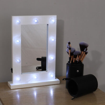 White Free Standing Hollywood Mirror Makeup Lighted Mirror