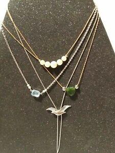 Jewelry lot-Avon- vintage Pendant Necklaces Seagull-jade-heart- pearl-gemstone