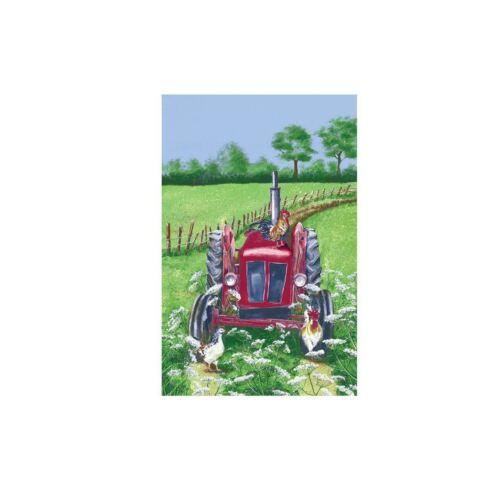 Farm Print /'Tractor/' 000TRA White Hens 100/% Linen Tea Towel Gift