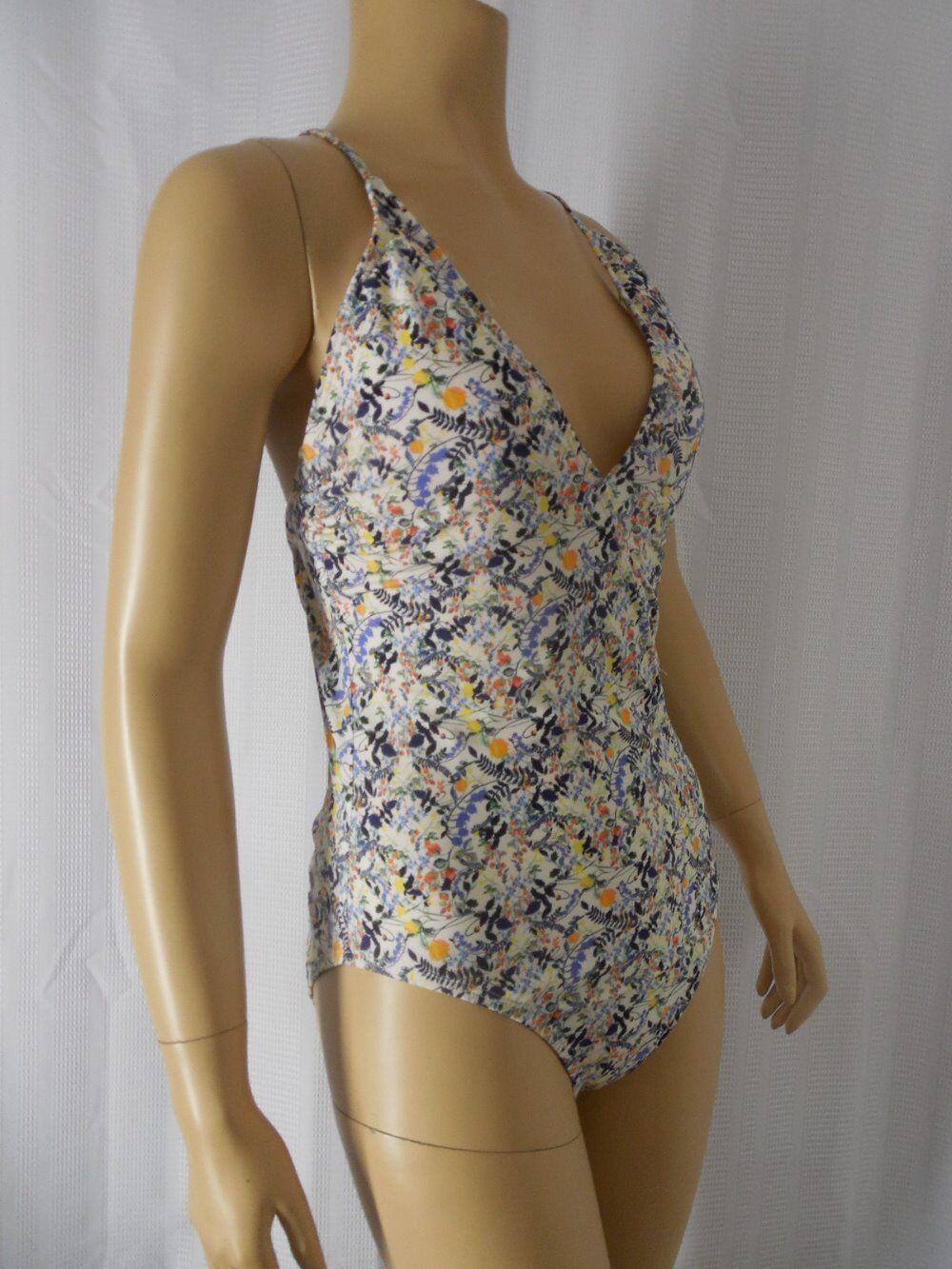 ANTONIO MELANI Swim suit 12 white multi color floral LIBERTY fabric NWT  154